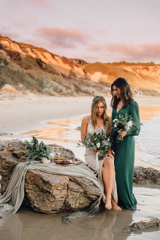 Romantic Same Sex Beach Elopement Inspiration in Earth Tones – Kalon Weddings Photography – Chloe Nicole Weddings 20