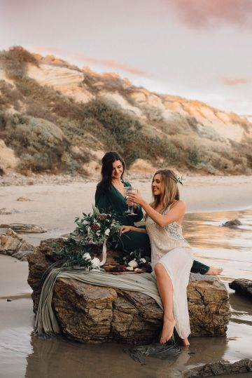 Romantic Same Sex Beach Elopement Inspiration in Earth Tones – Kalon Weddings Photography – Chloe Nicole Weddings 26