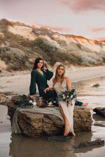 Romantic Same Sex Beach Elopement Inspiration in Earth Tones – Kalon Weddings Photography – Chloe Nicole Weddings 27