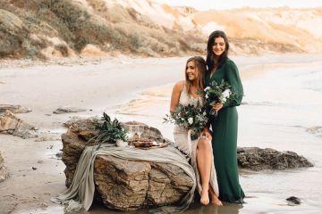 Romantic Same Sex Beach Elopement Inspiration in Earth Tones – Kalon Weddings Photography – Chloe Nicole Weddings 3
