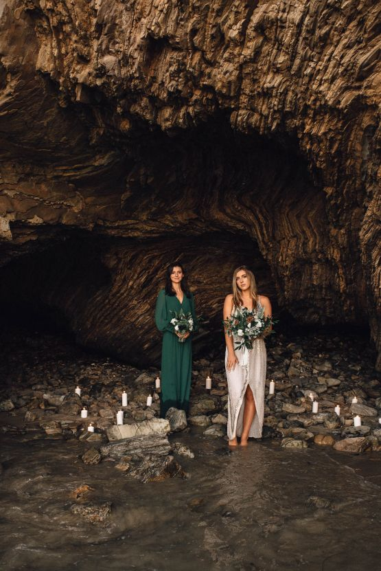Romantic Same Sex Beach Elopement Inspiration in Earth Tones – Kalon Weddings Photography – Chloe Nicole Weddings 31