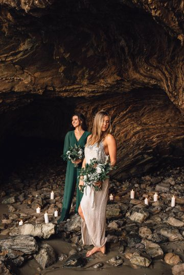 Romantic Same Sex Beach Elopement Inspiration in Earth Tones – Kalon Weddings Photography – Chloe Nicole Weddings 34