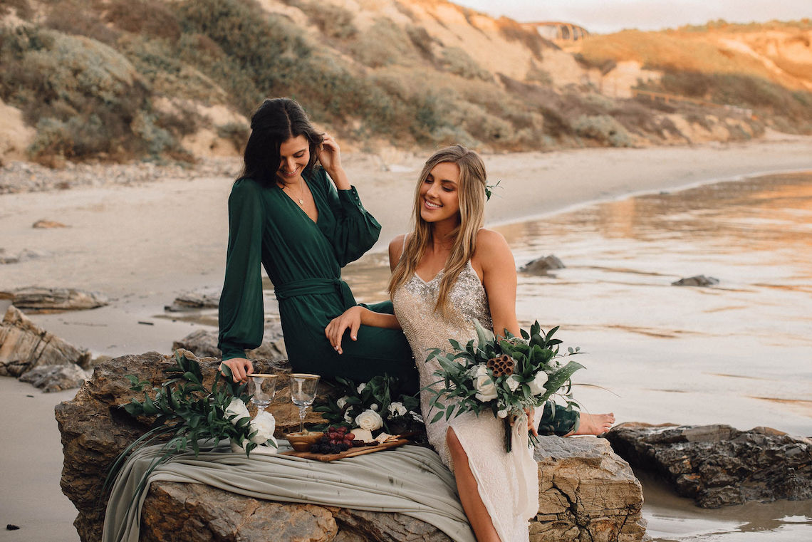 Romantic Same Sex Beach Elopement Inspiration in Earth Tones – Kalon Weddings Photography – Chloe Nicole Weddings 4