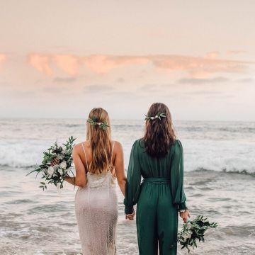Romantic Same Sex Beach Elopement Inspiration in Earth Tones – Kalon Weddings Photography – Chloe Nicole Weddings 41