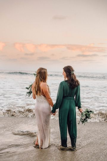 Romantic Same Sex Beach Elopement Inspiration in Earth Tones – Kalon Weddings Photography – Chloe Nicole Weddings 42