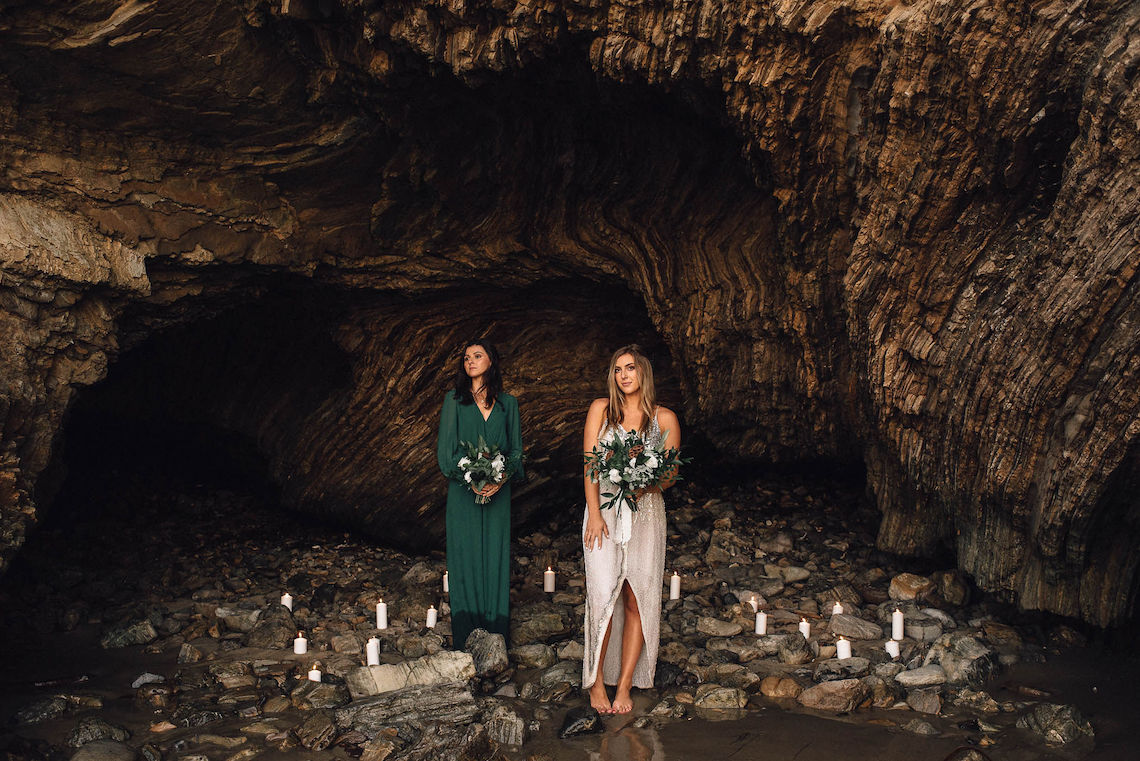 Romantic Same Sex Beach Elopement Inspiration in Earth Tones – Kalon Weddings Photography – Chloe Nicole Weddings 5