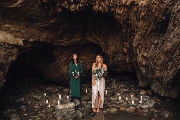 Romantic Same Sex Beach Elopement Inspiration in Earth Tones – Kalon Weddings Photography – Chloe Nicole Weddings 5