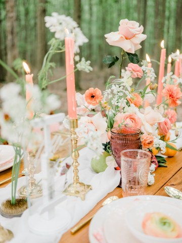 Whimsical Pantone Living Coral Colorful Meadow Wedding Inspiration – Kira Nicole Photography 16