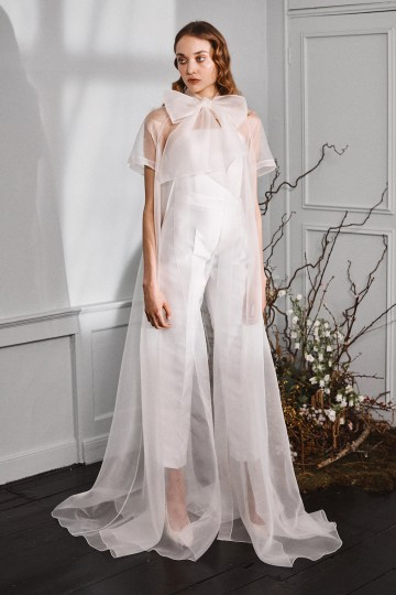 Best Dresses from Bridal Fashion Week – Halfpenny London – Organza Bow Coat and Trousers – Zo and Willow Bridal