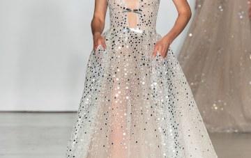 Favorite Wedding Dress Trends from Bridal Fashion Week – Inbal Dror – Tea length sparkling wedding dress