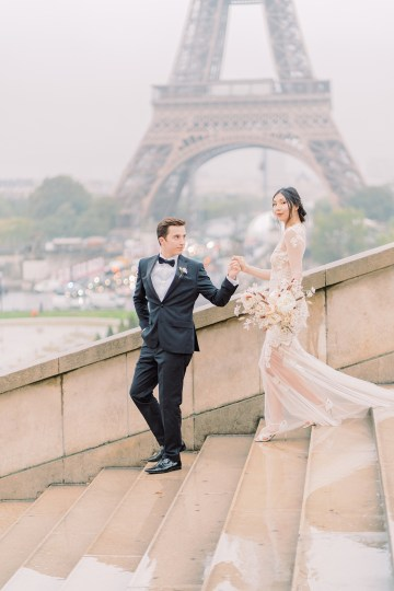 Rainy and Romantic Parisian Eiffel Tower Elopement Inspiration – Christine Grace Photography 7