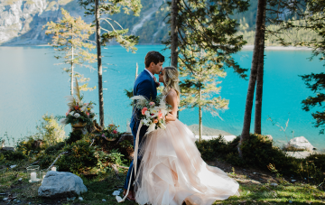 An Adventurous & Intimate Swiss Alps Wedding With A Pink Ballgown