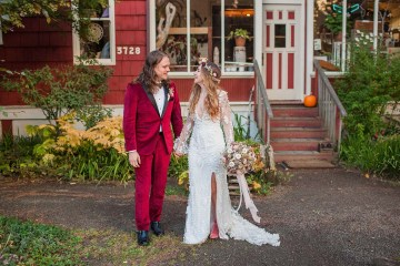 Pacific Northwest Rock and Roll Beach Wedding at The Funky Souwester Lodge – Claire Eliza Wedding Photography – Christina Castello and Drew Pull – Alexandra Grecco Dylan Gown 10
