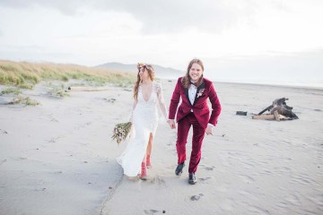 Pacific Northwest Rock and Roll Beach Wedding at The Funky Souwester Lodge – Claire Eliza Wedding Photography – Christina Castello and Drew Pull – Alexandra Grecco Dylan Gown 17