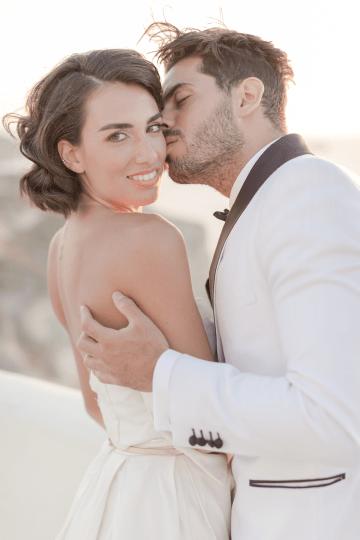 Pale Blue Greek Micro Wedding on the Cliffs of Santorini – Kimonas Photography 38