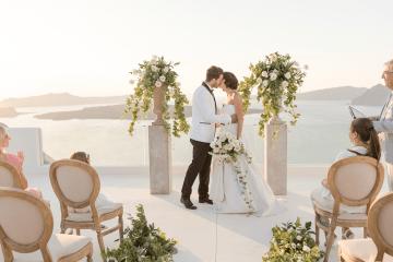 Pale Blue Greek Micro Wedding on the Cliffs of Santorini – Kimonas Photography 63