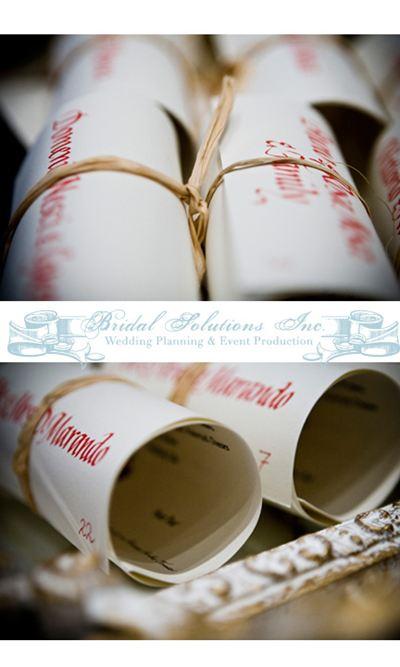 Winter wedding seating arrangement & menu