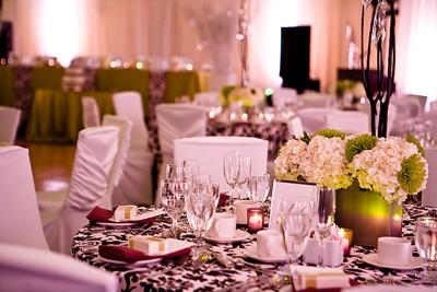 lime green white damask wedding table setting