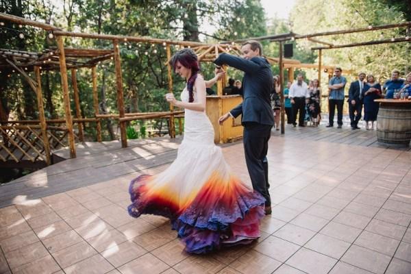 dip dye wedding dress trend, diy wedding dress