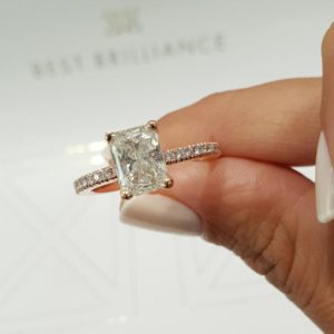 2.80Ct Radiant Cut Solitaire Diamond Engagement Ring 14K White Gold Plated