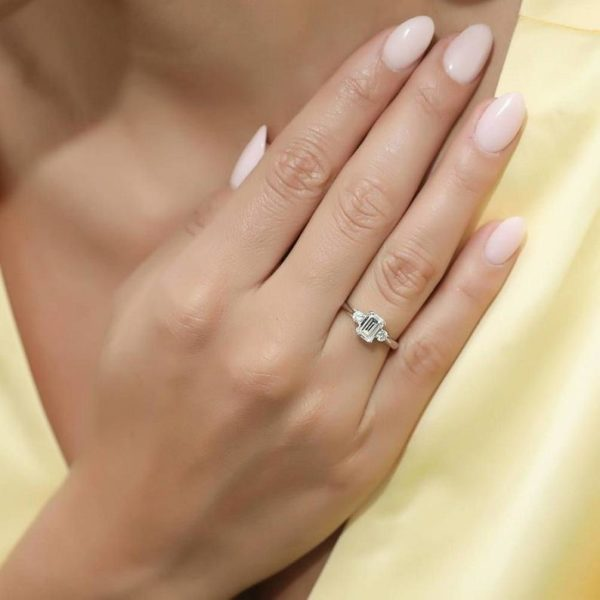 8x6mm Emerald Cut Engagement Ring 14K Gold Plated 3 Stone Ring