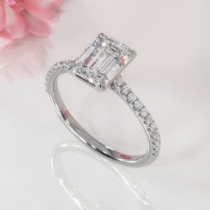 2.80 Ctw Classic Emerald Diamond Solitaire Engagement Ring 925 Sterling Silver