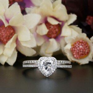 2.35 ctw White Heart Diamond Halo Bridal Wedding Ring Set 14k Gold Plated