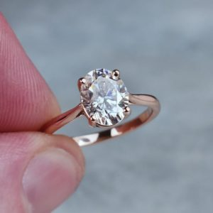2.10 Carat Oval Cut Brilliant Diamond Promise Ring Engagement Ring 10k Rose Gold