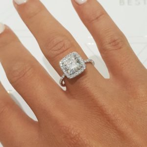 2.36Ctw Round Cut Diamond Cushion Shape Halo Engagement Ring 925 Sterling Silver