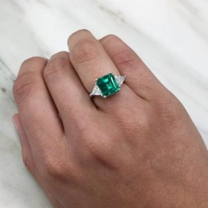 3.20Ct Emerald & Trillion Cut Diamond Engagement Ring 10K White Gold