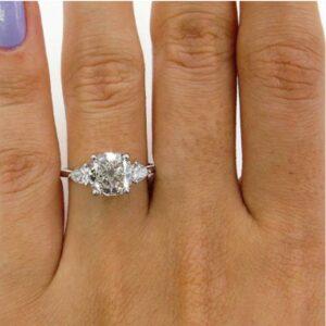 3.28 Ctw Cushion & Pear Cut Diamond Engagement Ring 14K White Gold