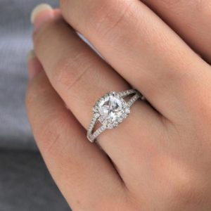 1.50Ctw Cushion Diamond Halo Engagement Ring 14K White Gold Ring