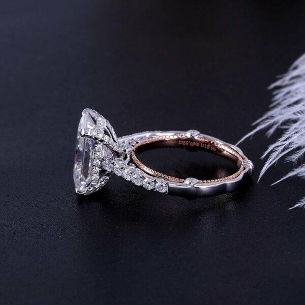 5.00Ctw Radiant Cut Diamond Vintage Engagement Ring 10K White Gold