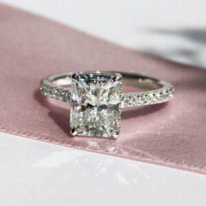 2.70Ct Radiant Cut Hidden Halo Diamond Engagement Ring 14K White Gold