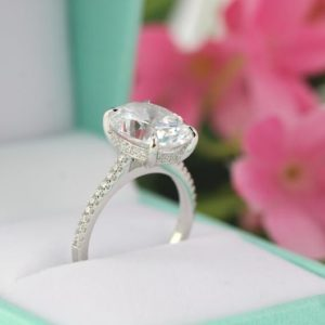5.3ctw Oval Solitaire Engagement Ring, Cocktail Ring 14K Gold