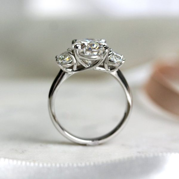 3 Stone Oval Diamond X-Prong Engagement Ring 925 Sterling Silver