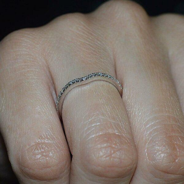Diamond Matching Wedding Band, 14k Rose Gold Cluster Wedding Ring