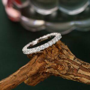 Unique Full Eternity 1.24Ct Brilliant Diamond Wedding Band 14k White Gold
