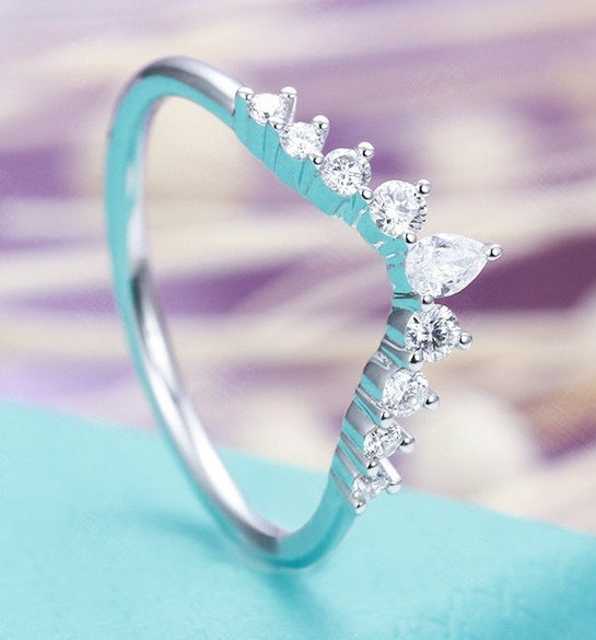 0.32 Carat Classic Pear Cut With Round Diamond Fancy Wedding Band 10K White Gold