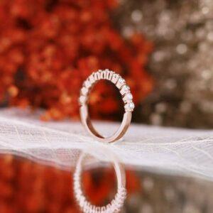 2.5mm Half Eternity Diamond Wedding Band Anniversary Ring 14k Rose Gold Over