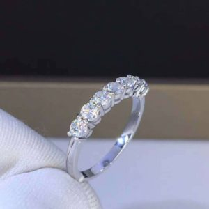 0.70Ct Round 7 Stone Diamond Wedding Engagement Band Ring 14K White Gold Plated