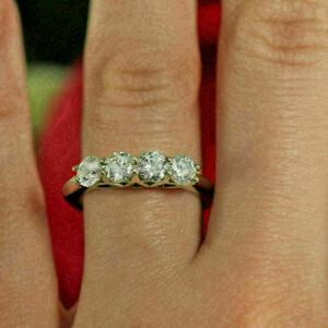 2.31 Ctw Four Stone Brilliant Cut Diamond Wedding Band Ring 925 Sterling Silver