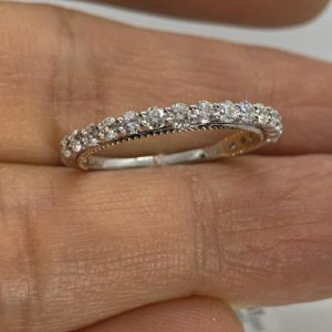 0.64Ct Round Diamond Half Eternity 2 Tone Wedding Band 14k White Gold