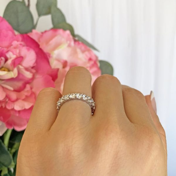 2 ctw Classic Full Eternity Band Round Diamond Luxury Wedding Band 925 Sterling Silver