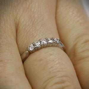 0.25ctw Five Stone Prong Set Diamond Wedding Band Ring 14k White Gold Plated