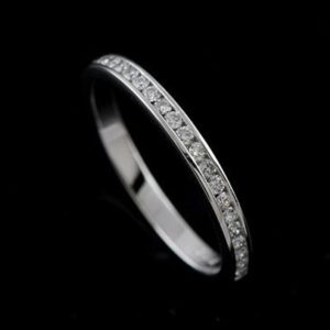 0.33 ctw Channel Set Diamonds Band Half Eternity Wedding Band 10K White Gold