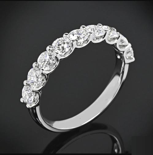 1.90 Carat Round U-Prong Set Diamond Half Eternity Band Ring 14k Gold Plated