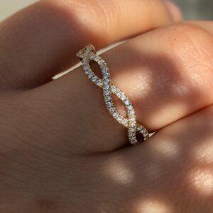 Half Infinity Wedding Ring 0.65ct Round Diamond With 14K Yellow Gold