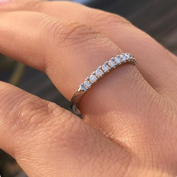 2.30mm Wide Half Eternity U-Prong Pave Diamond Wedding Band Solid 14K Gold Plated