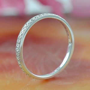 1.60mm Round Eternity Wedding Band Ring 0.62Ctw Diamond With 14k White Gold